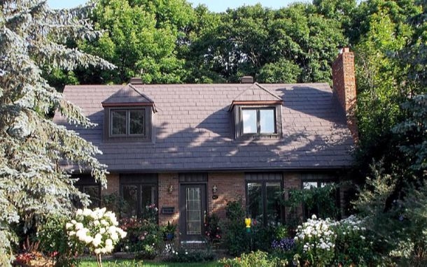 house with brown shingles