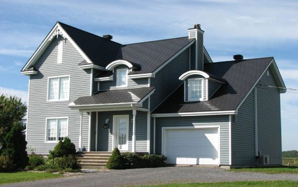 house with dark grey shingles